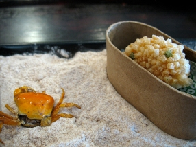A tiny and delicious deep-fried crab. Inside the slipper is a croquet of tofu, halibut and truffle butter, coated in Japanese cracker crumbs.