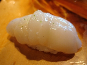 Hotate (scallops). The sweetness of the scallop was accentuated wonderfully by a squeeze of lemon.