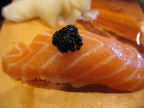Very lightly smoked salmon with a dab of caviar. Very, very good.