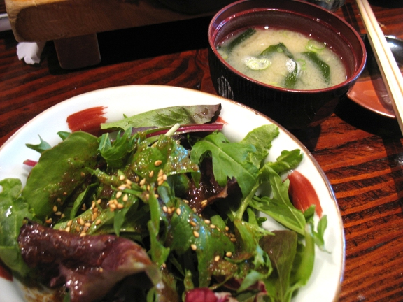 The lunch omakase ($40) begins with salad and miso soup, both very good.