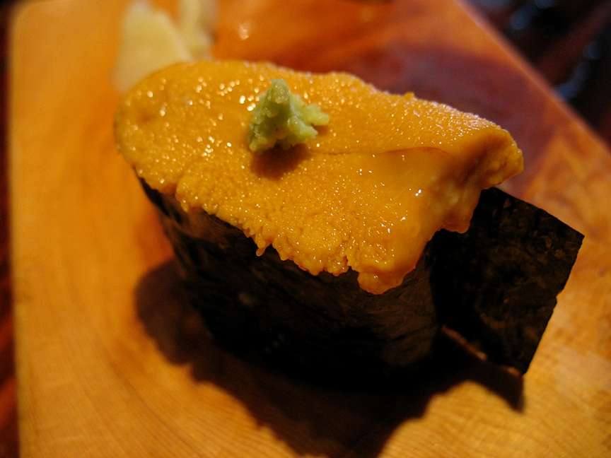 We couldn't resist adding an order of uni (sea urchin roe). Perfectly fine but not great.