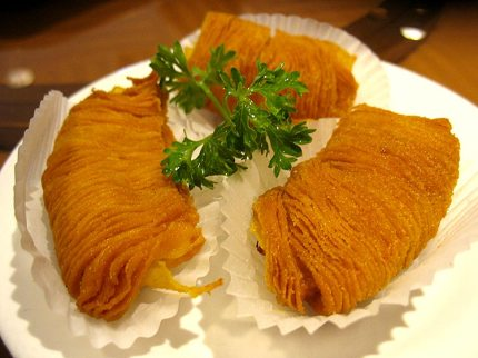 Durian puffs--very good. A savoury more than sweet item.