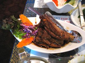 Thai Honey Ribs. Ordered as I like to try at least one new thing each time. These are very nice barbecued ribs redolent of what seems like five-spice (there's cinnamon in there at any rate) but not terribly interesting. Unlikely to break the rotation.