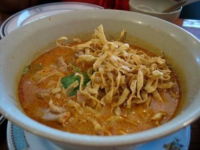 Kao Soy is the northern Thai version of a rich noodle/soup with coconut cream from Myanmar (apropos of nothing there was a bit of a Kao Soy/Khao Sway craze in Delhi about a decade ago). It's quite reminiscent of the Malaysian Laksa in some ways and was really quite excellent. Despite the use of coconut cream it was not cloying in the slightest and the flavours were were perfectly balanced. The chicken that's in there is really an afterthought.