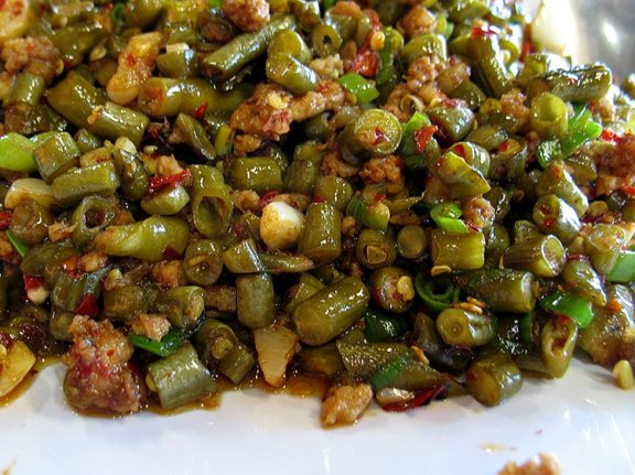 Pickled Long Beans with Ground Pork: The pickled beans are chopped to pretty much the same size as the bits of ground pork. Very tangy and very good and a completely new flavour for me in the context of Chinese food.