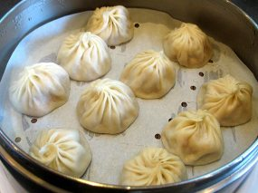 One order of Xiao Long Bao with crab and pork (10 pieces to an order). Perfectly fine.