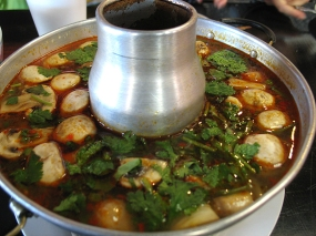 Tom Yum with Shrimp: Again, just quintessential Tom Yum with bright acid from the lime and a kick like a mule right behind it from the chillies.