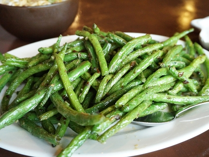Stir fried Green Beans: Our sons eat these like they're made of crack. Always very good.