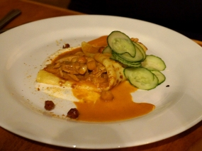 Chickpea Crepe, smoked chicken, yogurt, cucumber & curry. I'm afraid I didn't think much of this; I'm afraid when fine restaurants try to do Indian flavours they tend to produce sauces that don't taste very different from curry house fare. Not the greatest presentation either. The person who ate most of it liked it more than I did though.