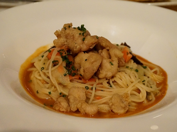 Crispy Sweetbreads, angel hair pasta, red miso glaze & sweet pickles. This was the pick of this round. And as it was the missus' I managed to get more than one bite. The sweetbreads, like the fried oysters from the first course, were done perfectly, and the miso glaze was lovely.