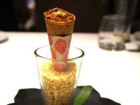 duck khurchan cornetto, duck liver butter, chili chutney