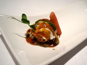 potato sphere chaat, white pea ragda