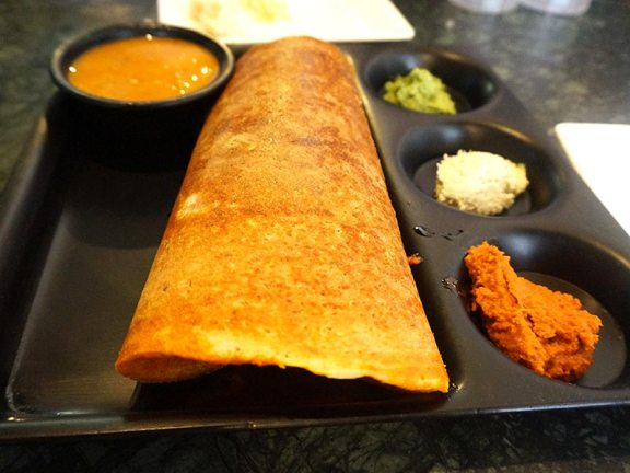 The so-called Malleshwaram 18th Cross dosa, named for a Bangalore neighbourood. Thicker than the others and in proper Bangalore style the inside of the dosa is smeared with a spicy paste made from ground lentils and red chillies. Great stuff.