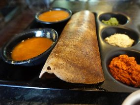 Raagi Dosa. Made with the addition of millet flour, this was both striking to look at and very good.