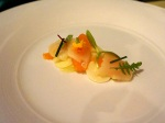 Cured sea scallops with cara cara oranges, hearts of palm and herbs.