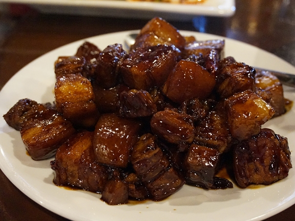 Grand Szechuan: Chairman Mao's Braised Pork Belly. Just this side of cloying (okay, maybe right on the line and tipping over) but so, so good.