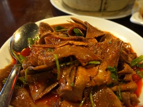 Grand Szechuan: Beef Tongue in Chilli Sauce. Thinly sliced tongue--if you're with someone squeamish just tell them it's brisket.