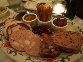Cold Meat Plate: I think the picture speaks for itself. Two massive pieces of porchetta, two large pieces of mortadella, head cheese and a large slice of chicken galantine. Two people could eat this alone and call it a meal (given the large amount of fat involved). It should probably be ordered as a starter for a group of 8, but our waitress did not caution otherwise. All of this is made in-house; the porchetta and head cheese were quite good, the mortadella and galantine were nothing to write home about; and texturally there was not enough contrast–at least one mousse-like thing would have been appropriate. The cherry mostarda and the cornichons were very good–I could have used some more bite on the mustard to cut the unctuousness of the meat. We ate some and brought the rest home.