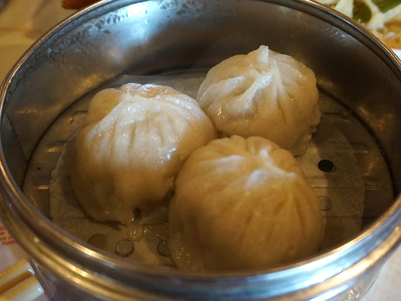 Yangtze: We were excited to see these juicy dumplings (aka soup dumplings) on offer, but, alas, the juice had mostly leaked out in the steamer.