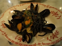 Pasta Negra with Sea Urchin Chili, Mussels and Tomato. This was very good as well. The pasta was perfectly cooked, and while there wasn't a whole lot of evidence of the sea urchin it was perfectly balanced. Again, it was a lot. And the missus, who got this, ate a few bites and called the server over to cancel her entree. This led to a bit of static, on which more below.