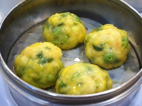 Sea Harbour: Steamed Shrimp Paste with Corn and Pea Dumpling