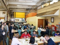 The chaotic dining area. Though it doesn't look it in this picture it can be quite a scrum to get a table (especially on Sundays after church).