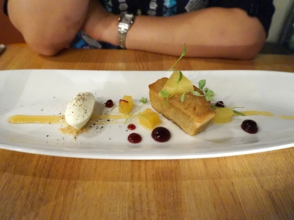 Rum cake with braised pineapple, hibiscus and black pepper mascarpone ice cream. Black pepper mascarpone ice cream seems like it would be Dr. Moreau's favourite dessert but it was great and stole the show from the quite good cake.