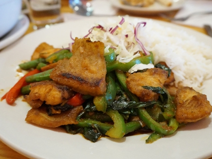 Pla Pad Prik: A stir-fry with boneless tilapia. We were surprised to see this served on a plate with rice. Made it hard to share, and also meant that the leftovers were crap as the rice absorbed all the sauce. It was tasty, though it would have been even better with more of a kick.