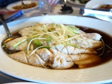 Fillets of fish steamed in soy sauce with ginger and scallions. The fish was cooked really nicely. We always get this at Sichuan restaurants so the kids can have a mild main dish to eat but truth be told, it's a fine relief dish for adults as well.