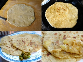 Take your large ball of stuffed dough and gently flatten it on a floured surface. Spread it out as much as you can with the heel of your palm. Then roll it into a circle, being careful not to let it split. Smear the top with ghee and flip. Repeat the flip/smear as necessary till you have a paratha that's got nice crisp bits on both sides.