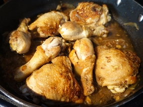 Simmer the chicken till it gives up a lot of moisture