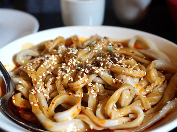 "Sweet & Spicy Noodles: From the ""Szechuan Snacks"" section (now at the top of their updated menu). Always very nice but you have to like your noodles chewy."