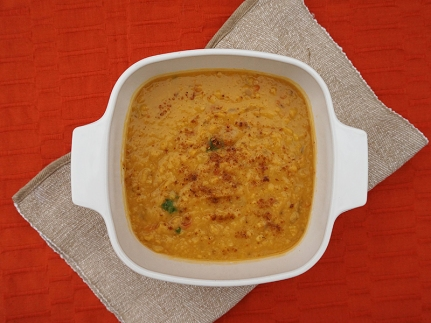 The finished dal garnished with cilantro and a bit of garam masala.