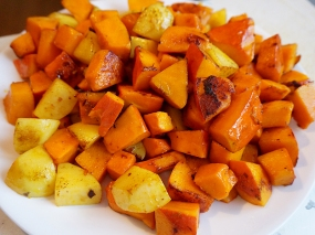 Frying the squash and potato first helps them hold their shape as they're simmering in the sauce later.