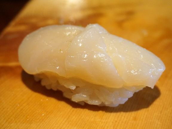 Japanese scallop with sea salt and yuzu peel.