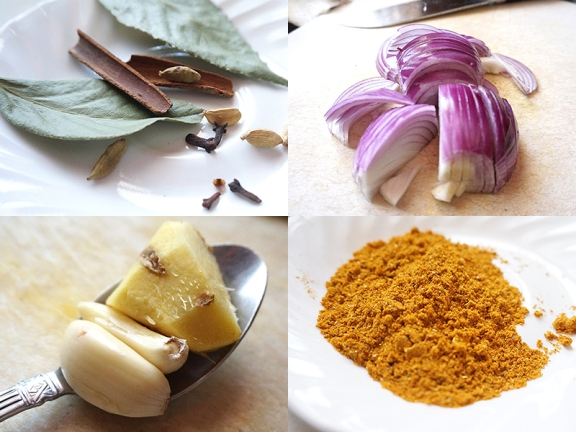 Whole Garam Masala; sliced onions, which make the sauce sweeter; ginger and garlic in a tablespoon for reference; ground masalas for the curry along with turmeric and ground red chillies.