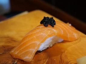 Very lightly smoked Scottish salmon with caviar. A signature preparation here.