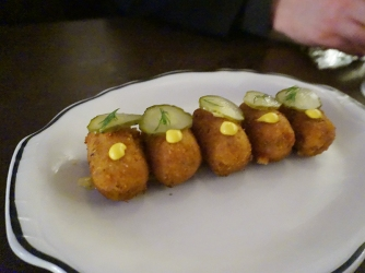 An amuse of what turned out to be very witty croquettes. The contents were smoked beef, smoked cheese and sauerkraut. Yes, a Reuben.