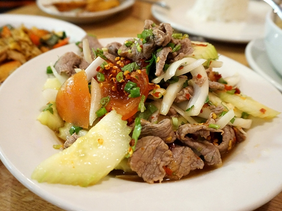 Grilled beef salad. The beef seemed almost as steamed as grilled (almost no char); the dressing was fine though.