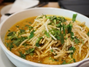 The Khao Soi was very close to Sen Yai Sen Lek's rendition, which means that it was thicker than we like and had far more currypowder in it than we like.