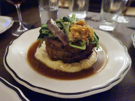 Milk-fed baby lamb done as braciole with perfectly matched veg and a lovely jus. The lamb, from a local purveyor, was closer to veal than to any lamb I've ever had. Just great.