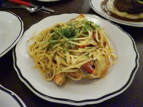 Now we move to the mains and oh, my god. A perfectly poached 1.5 lb lobster (and all of it) in a carbonara style sauce tossed with tarragon and perfect spaghetti. There's not much to say: this was as close to perfection as any lobster or pasta dish I've ever eaten has come.