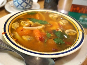 This soup was at the very upper end of our heat tolerance and was quite good.