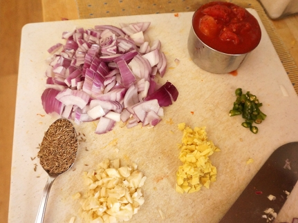 All the ingredients for the tadka.