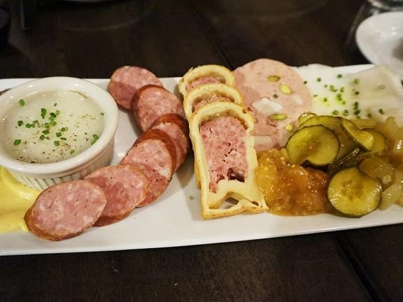 Duck liver pate, knockwurst, pate en croute, mortadella, lardo.