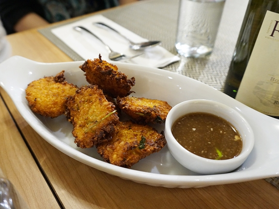 Chickpea fritters, all but indistinguishable from Indian pakoras and rather nice---especially with the tamarind dipping sauce.