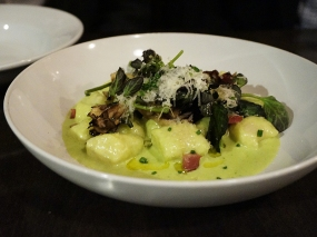 """gnocchi, leek and gruyere fondue, jambon royale, spicy greens"""