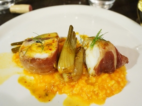 """""""roasted ham wrapped monkfish, pimentón and fennel risotto"""""""