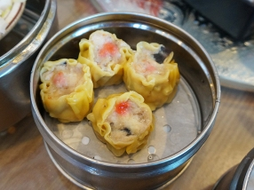 This sad looking pork shiu mai had also been sitting for a while, and the fresher version that we got later was not a whole lot better. Still better than the disgusting grey-pink shiu mail we got on our last visit to Mandarin Kitchen.