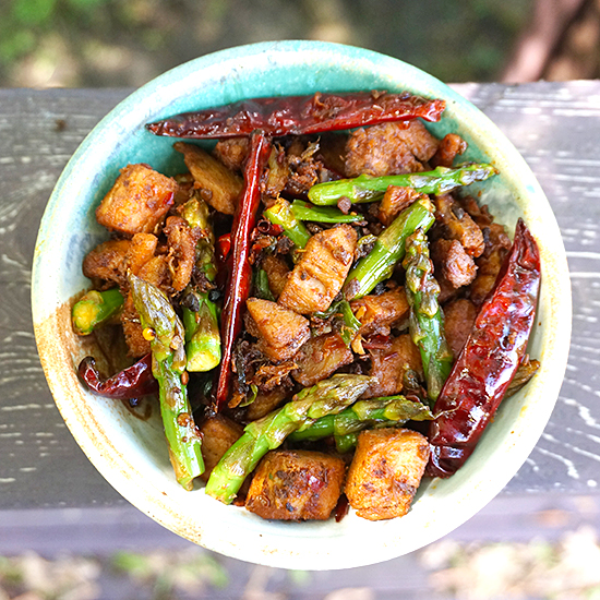 Dry Fried Pork with Asparagus